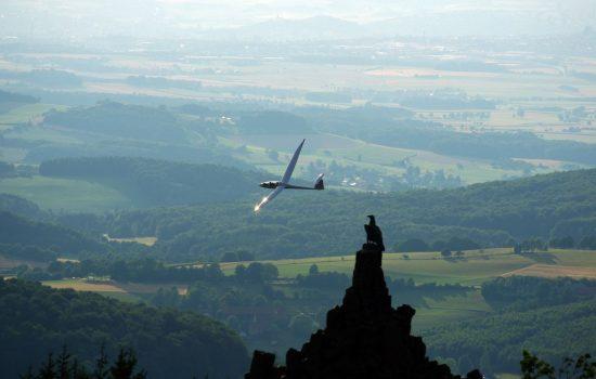 Rhön Fliegerdenkmal Wasserkuppe mit Segelflieger